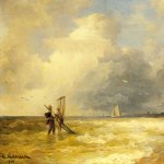Andreas Achenbach (1815-1910)  Fishing Along the Shore  Oil on panel, 1900  12 3/4 x 17 1/8 inches (32.4 x 43.7 cm)  Private collection